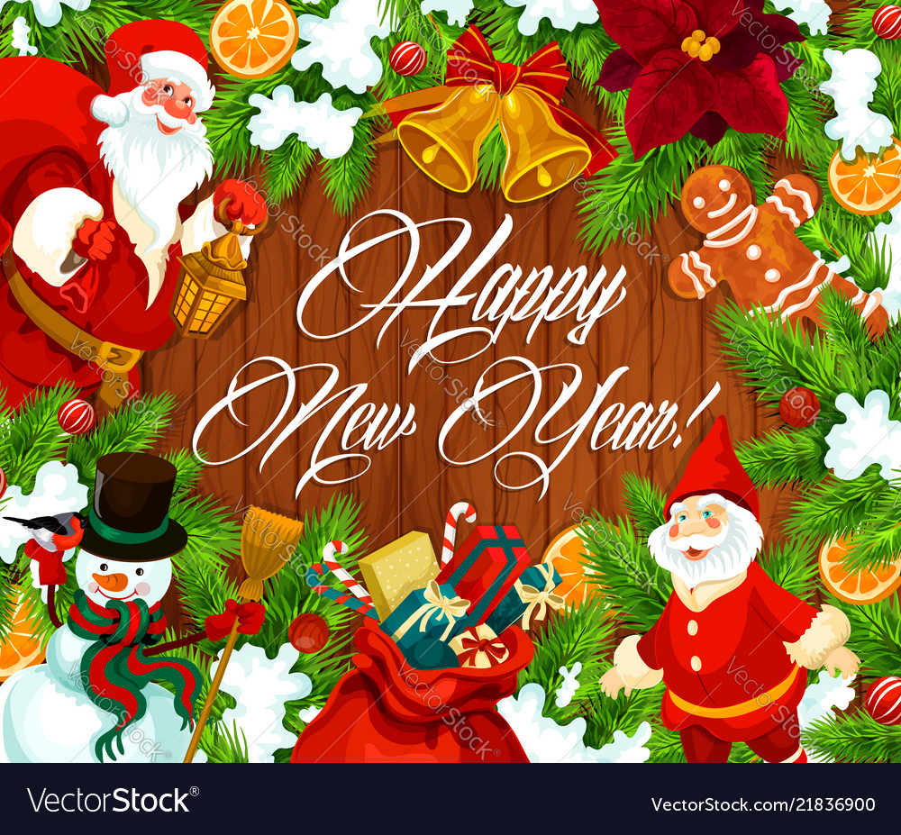 Happy new year banner with wreath on wood