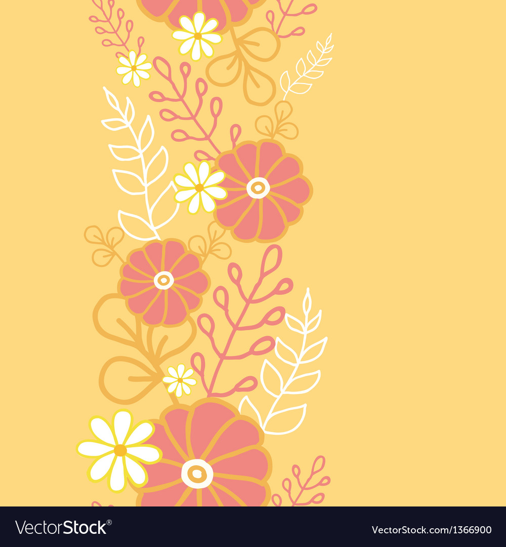 Hot flowers vertical seamless pattern background