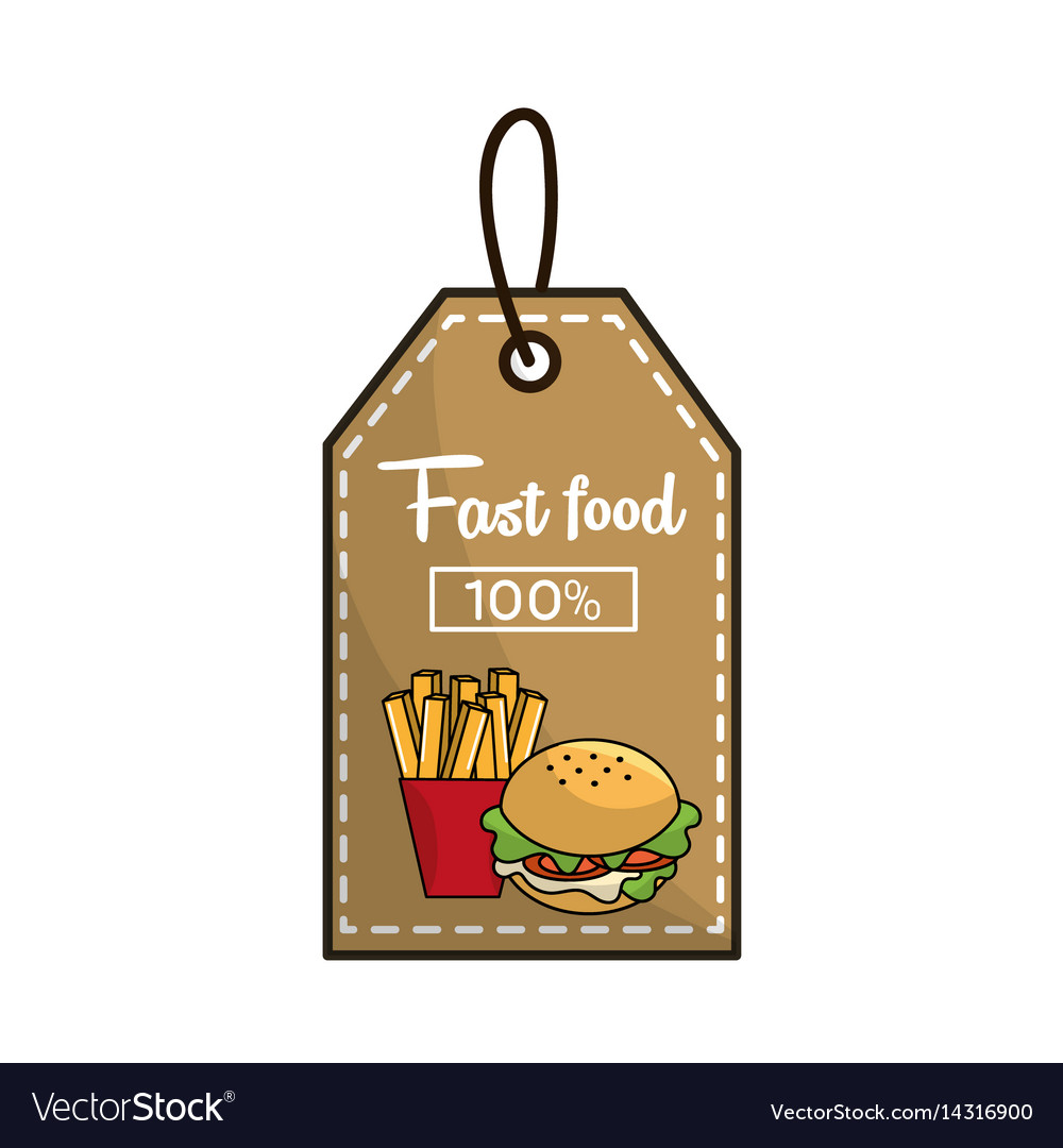 Label fast food french fries and burger icon