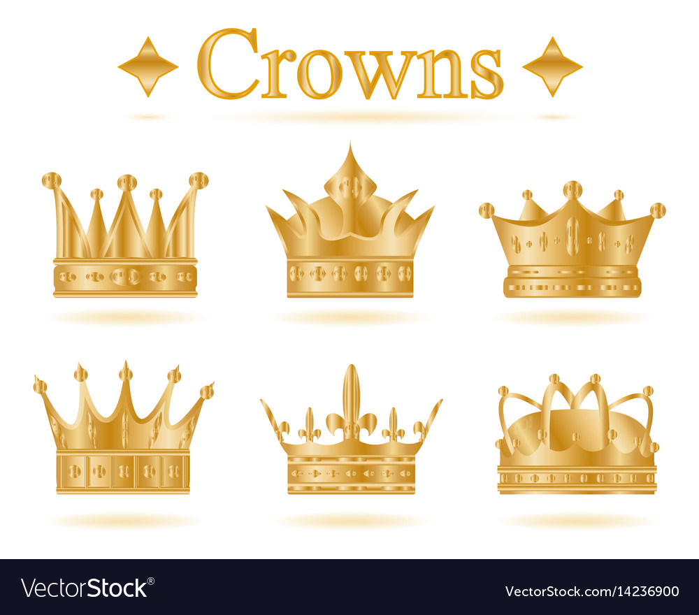 Set of gold king crown royalty free vector image set of gold king crown vector image thecheapjerseys Image collections