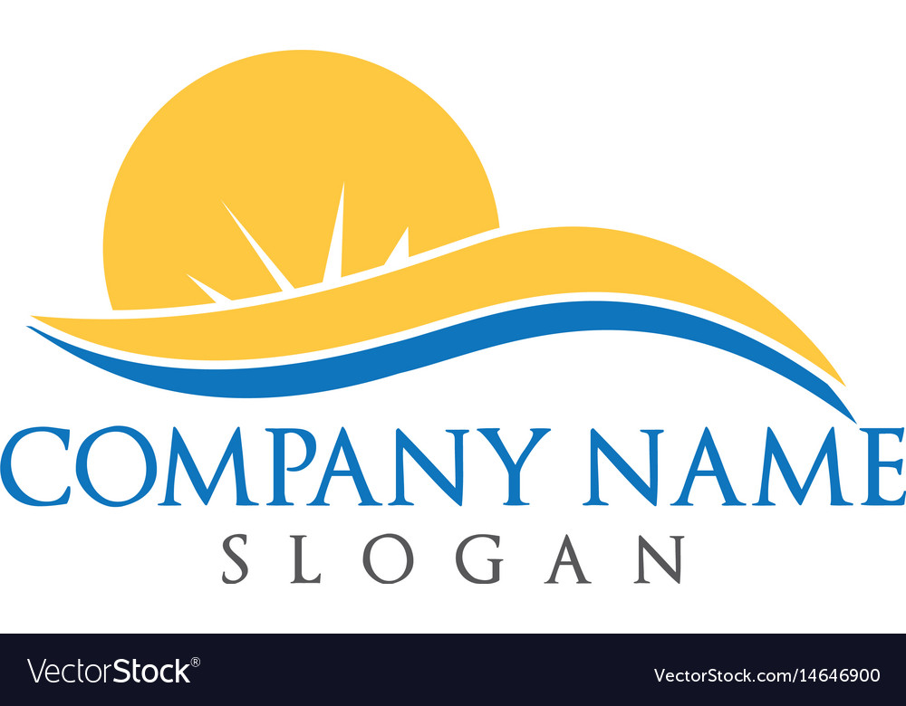 Sun and waves travel and tourism logo design