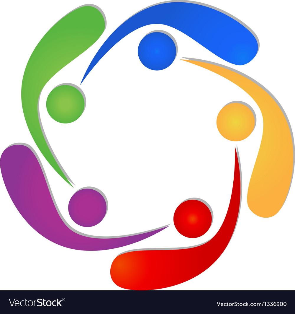 Teamwork 5 swooshes people logo