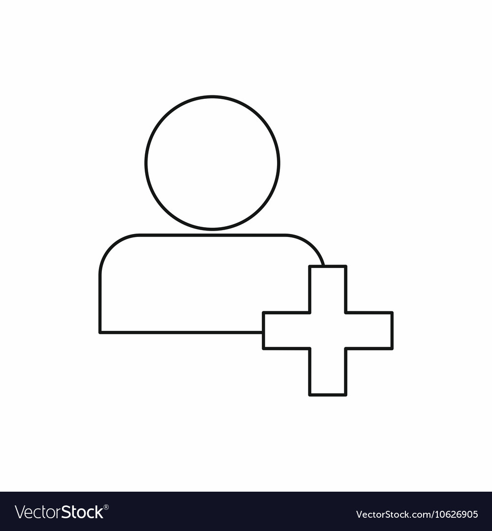 Add friend contact icon outline style vector image