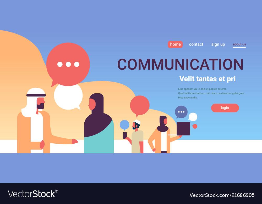 Arabic people chat bubbles communication speech