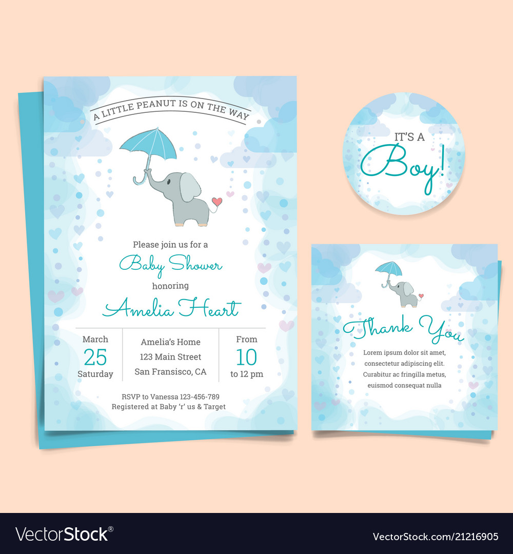 Baby Shower Invitation Card With Elephant