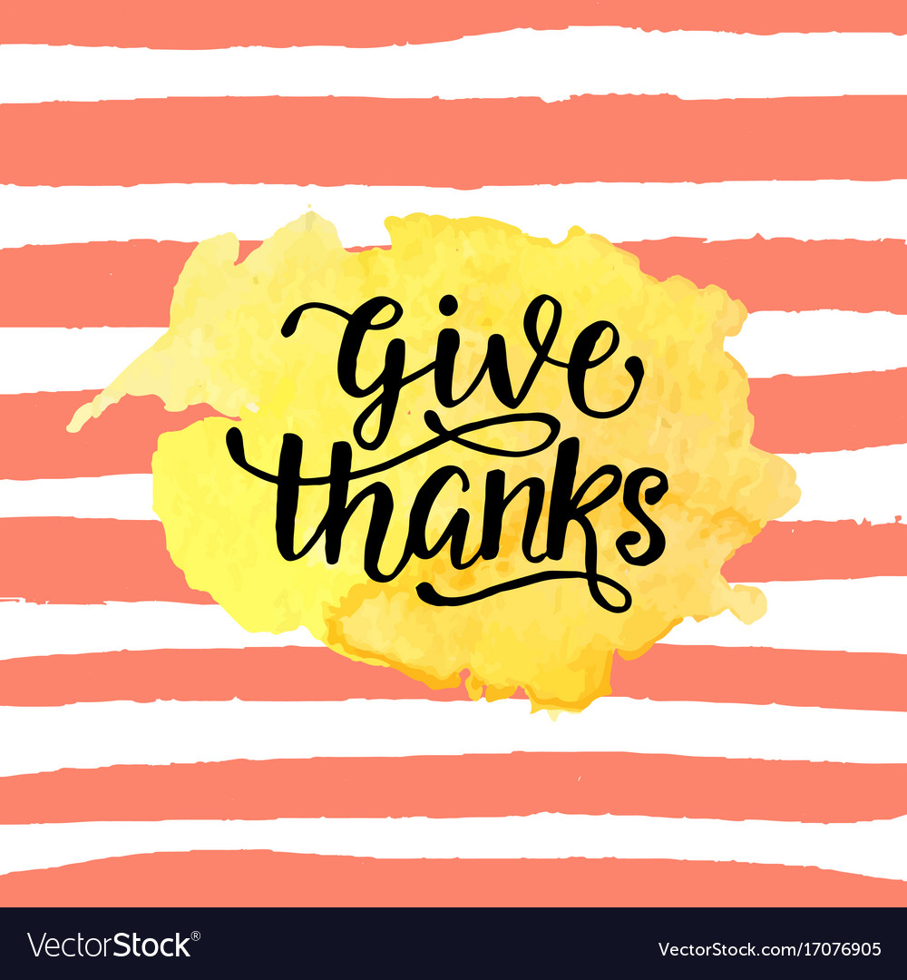 Give thanks badge on watercolor stain