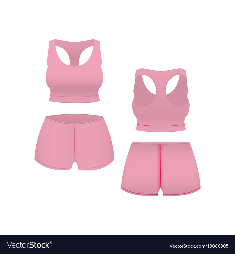 Realistic template blank pink shorts and top