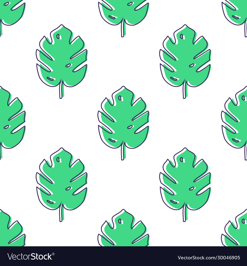 Seamless pattern with monstera palm leaves trendy