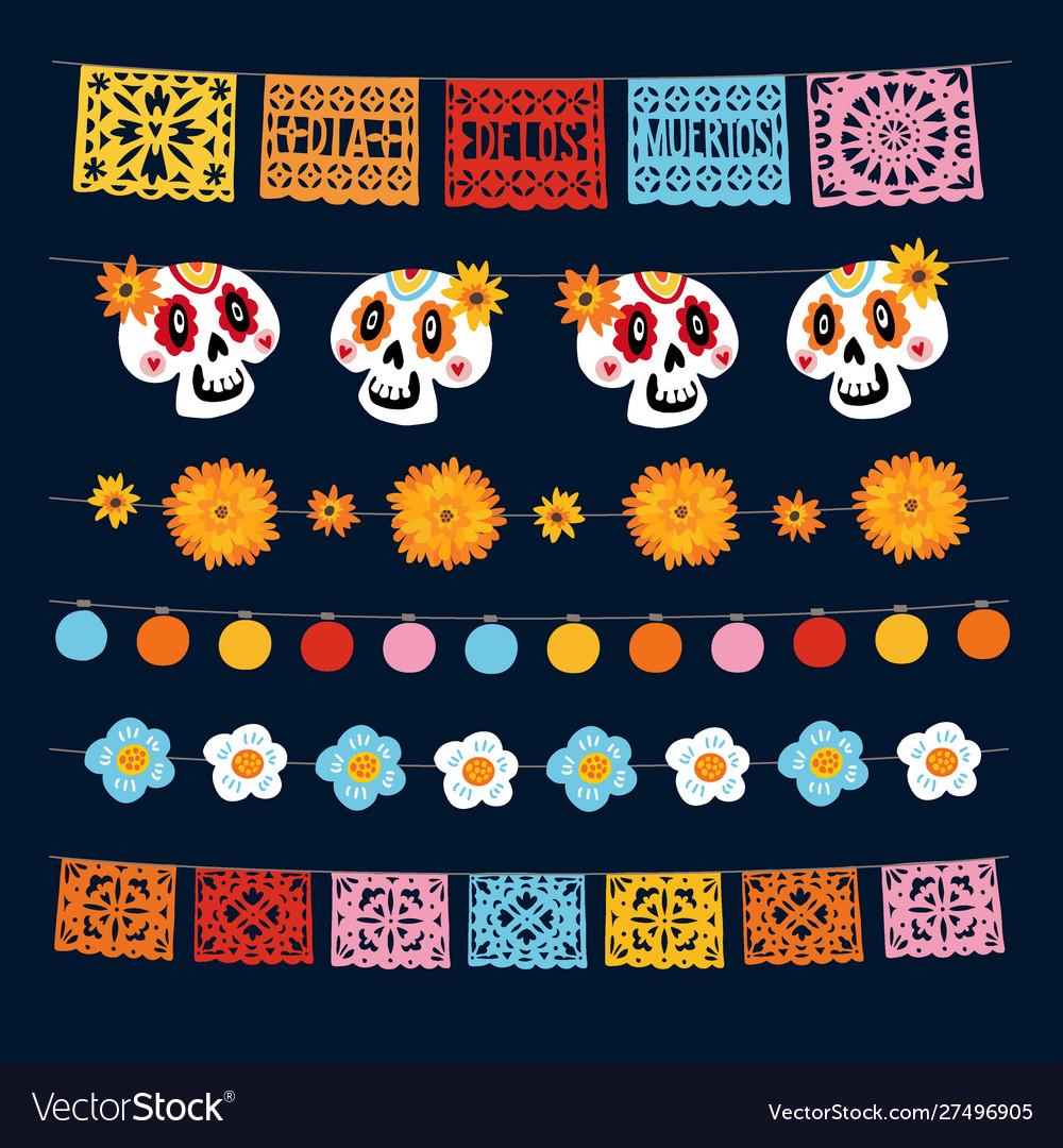 Set dia de los muertos mexican day dead