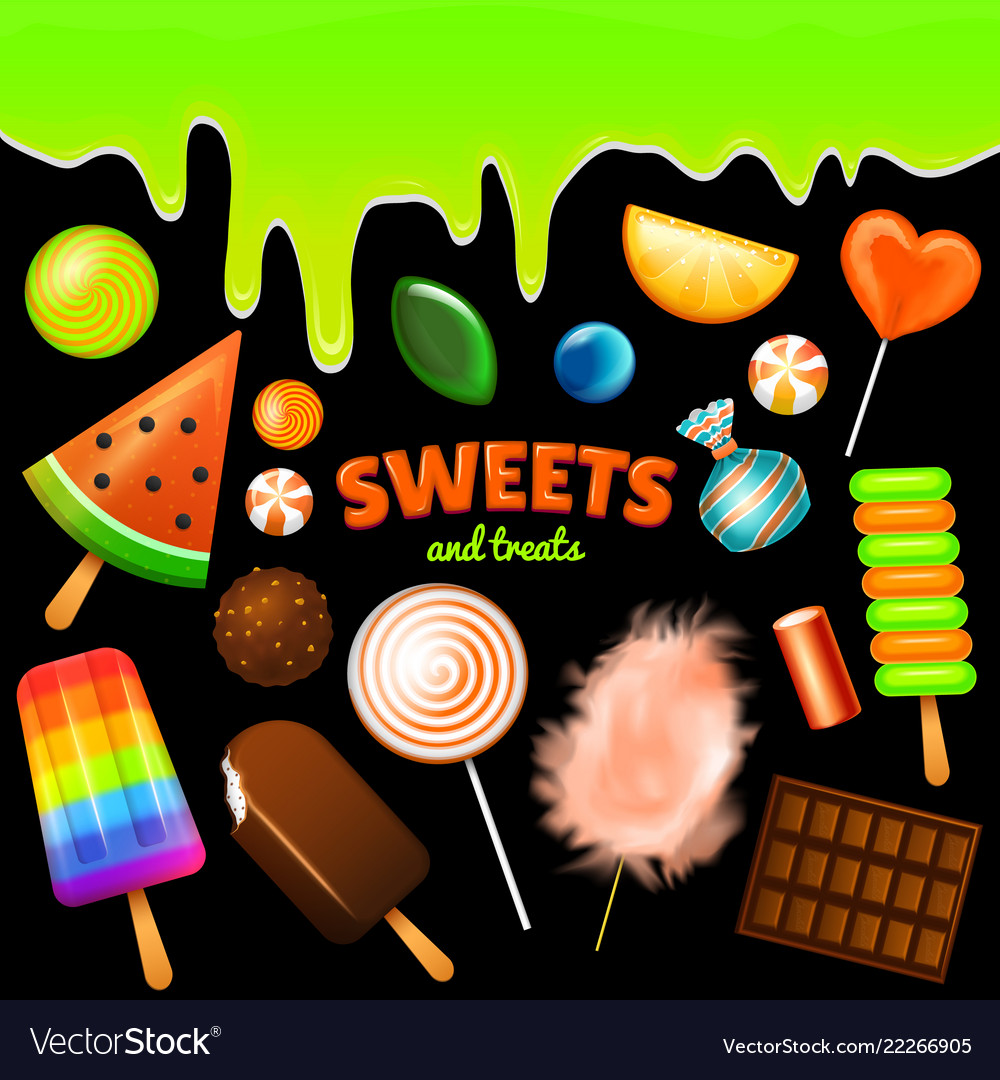 Set of sweet candies halloween decorated elements