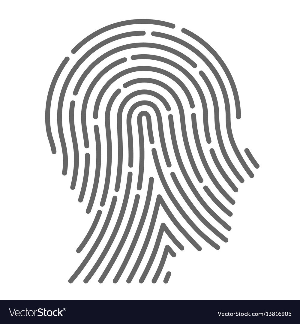 Symbol fingerprint head vector image