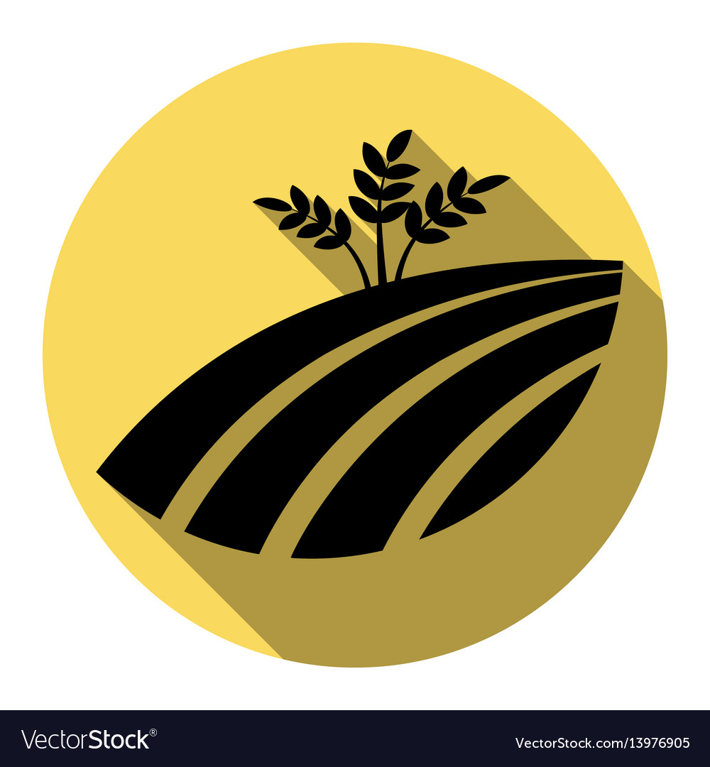 Wheat field sign flat black icon with