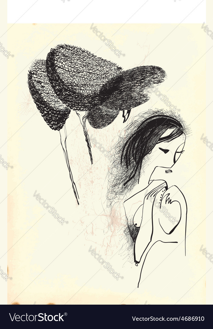 Art of Line Art - Woman with long hair vector image