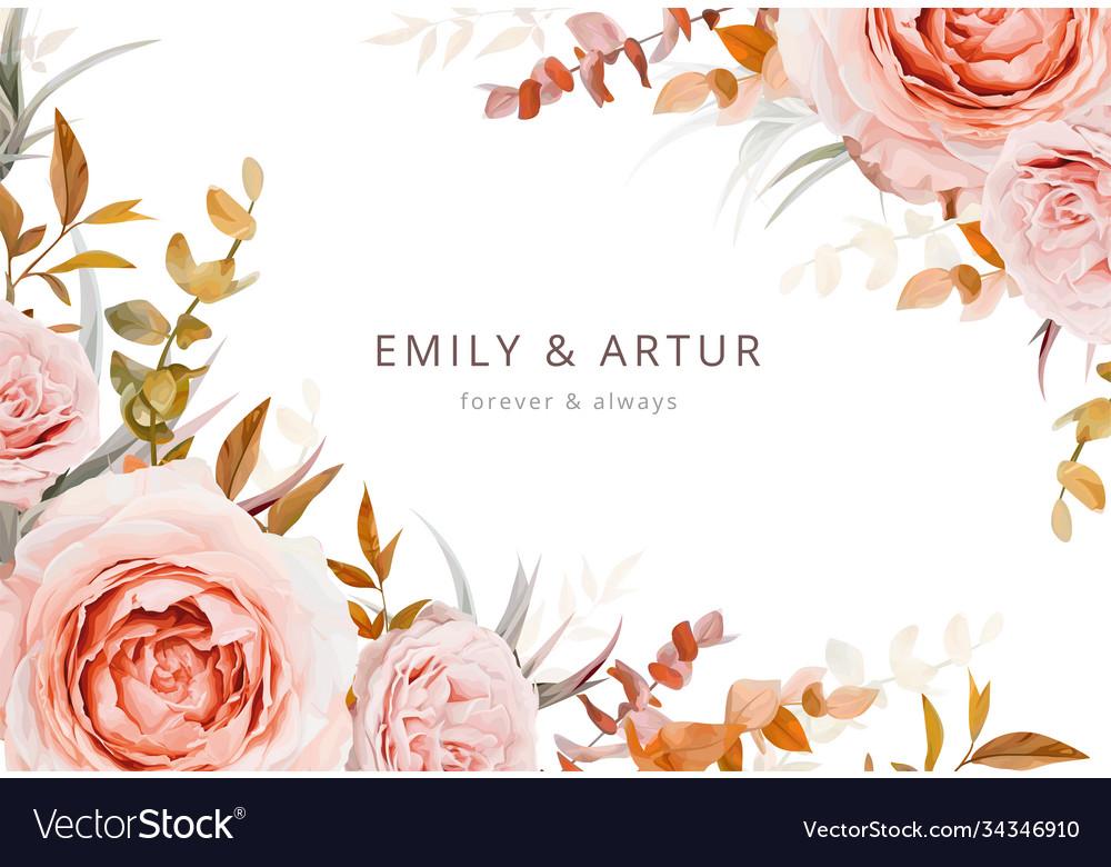Autumn floral wedding invite card poster design