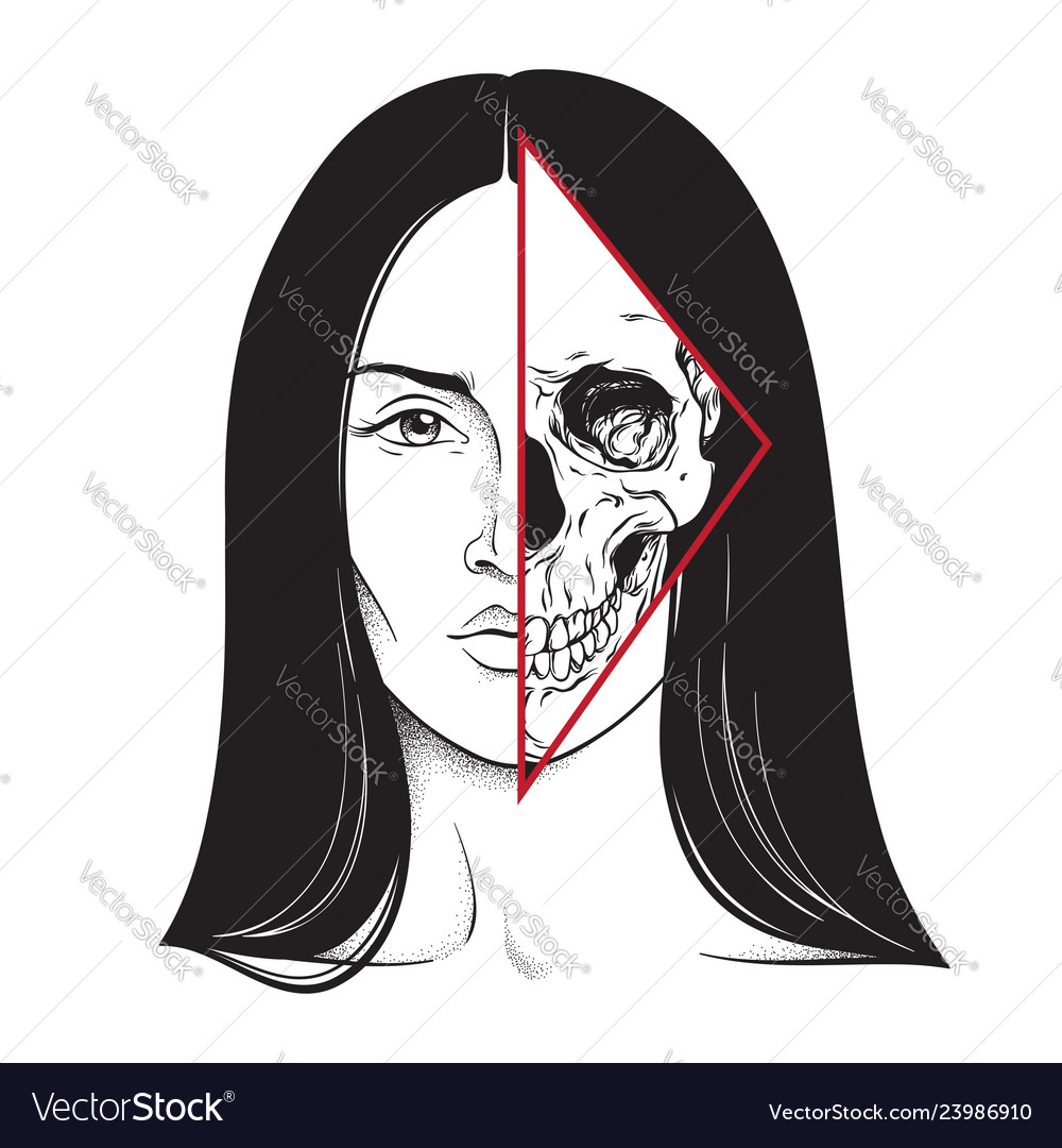 Beautiful brunette with half skull face hand drawn