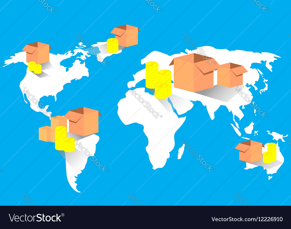 Business export import global trade world map vector image gumiabroncs Image collections