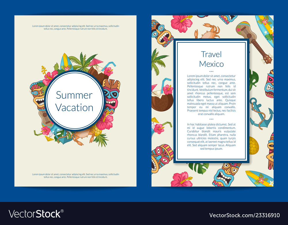 Cartoon summer travel card or flyer