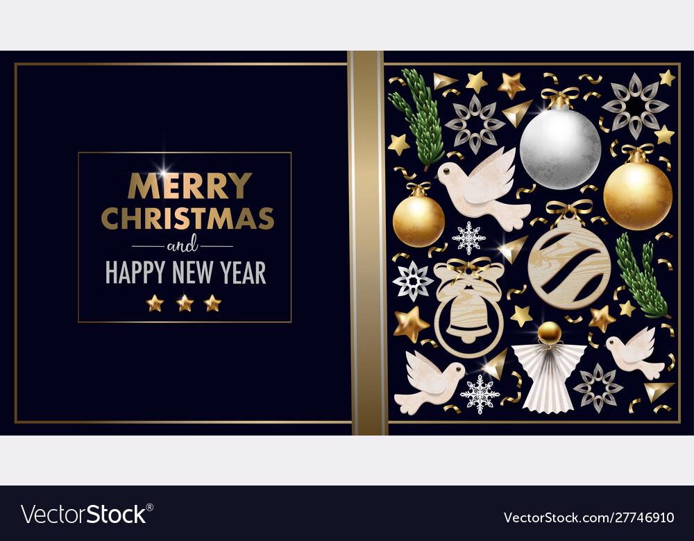 Christmas banner or postcard with balls pine