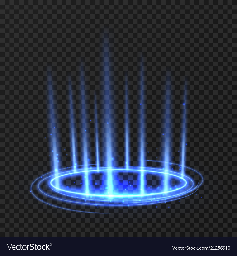 Energy spinning circle with blue glowing rays