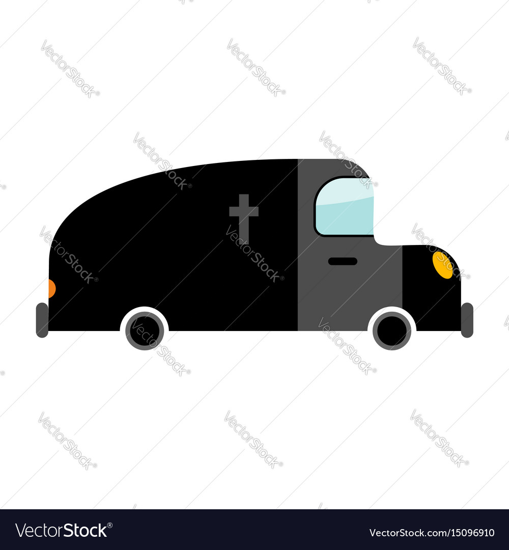 Hearse funeral car isolated transport on white