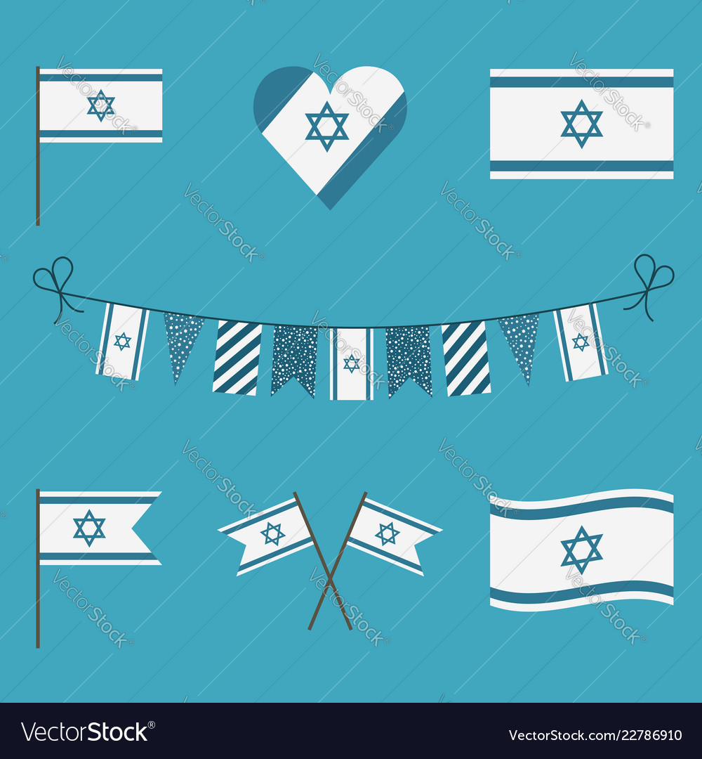 Israel flag icon set in flat design
