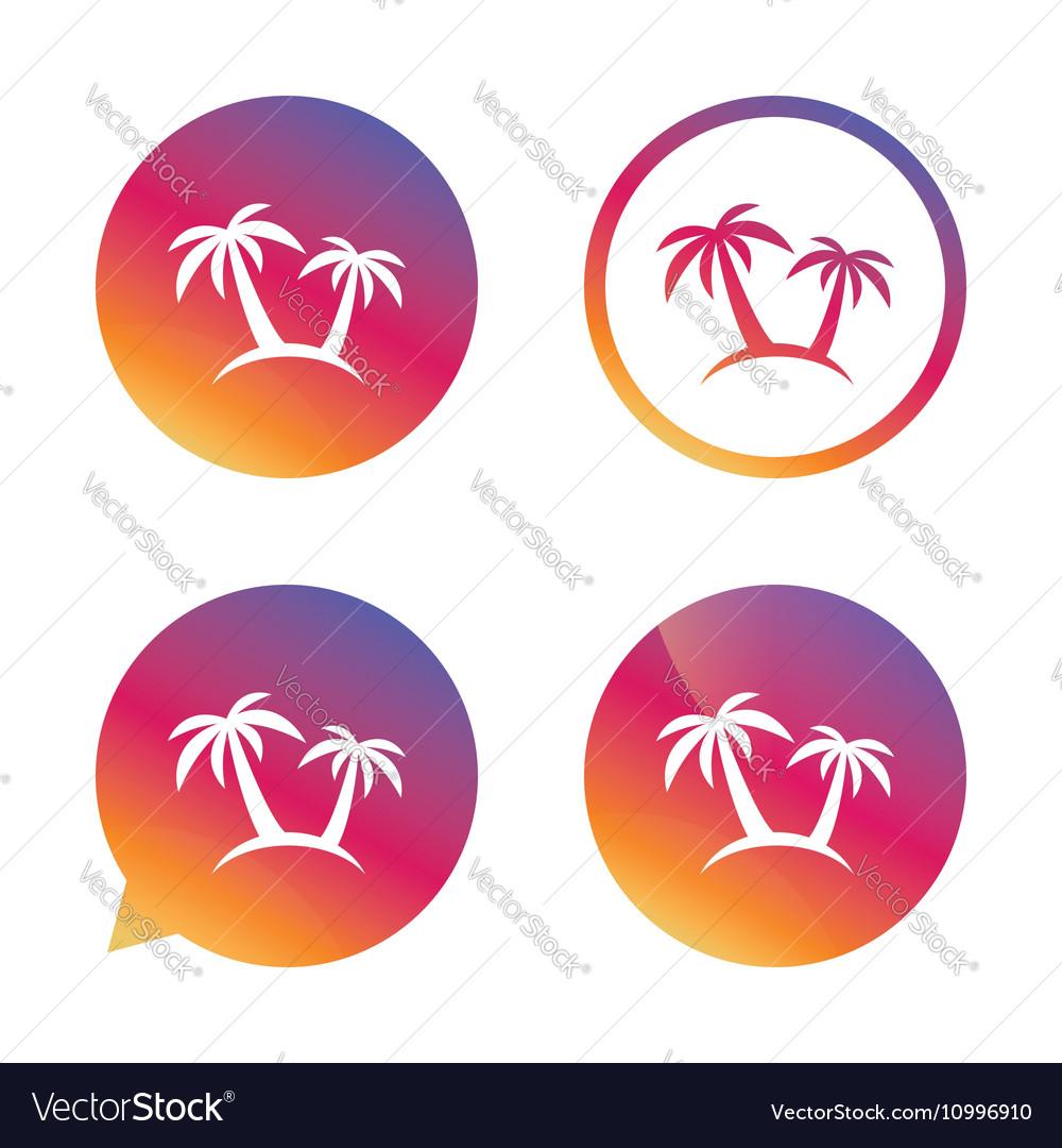Palm Tree sign icon Travel trip symbol