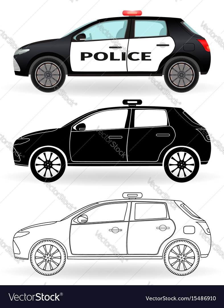 Police car colored black silhouette outline