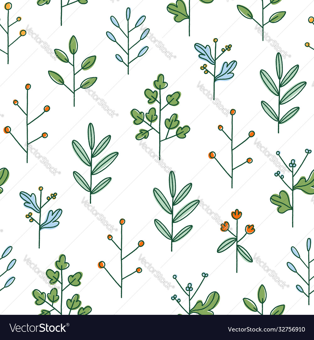 Simple hand drawn floral branches summer field