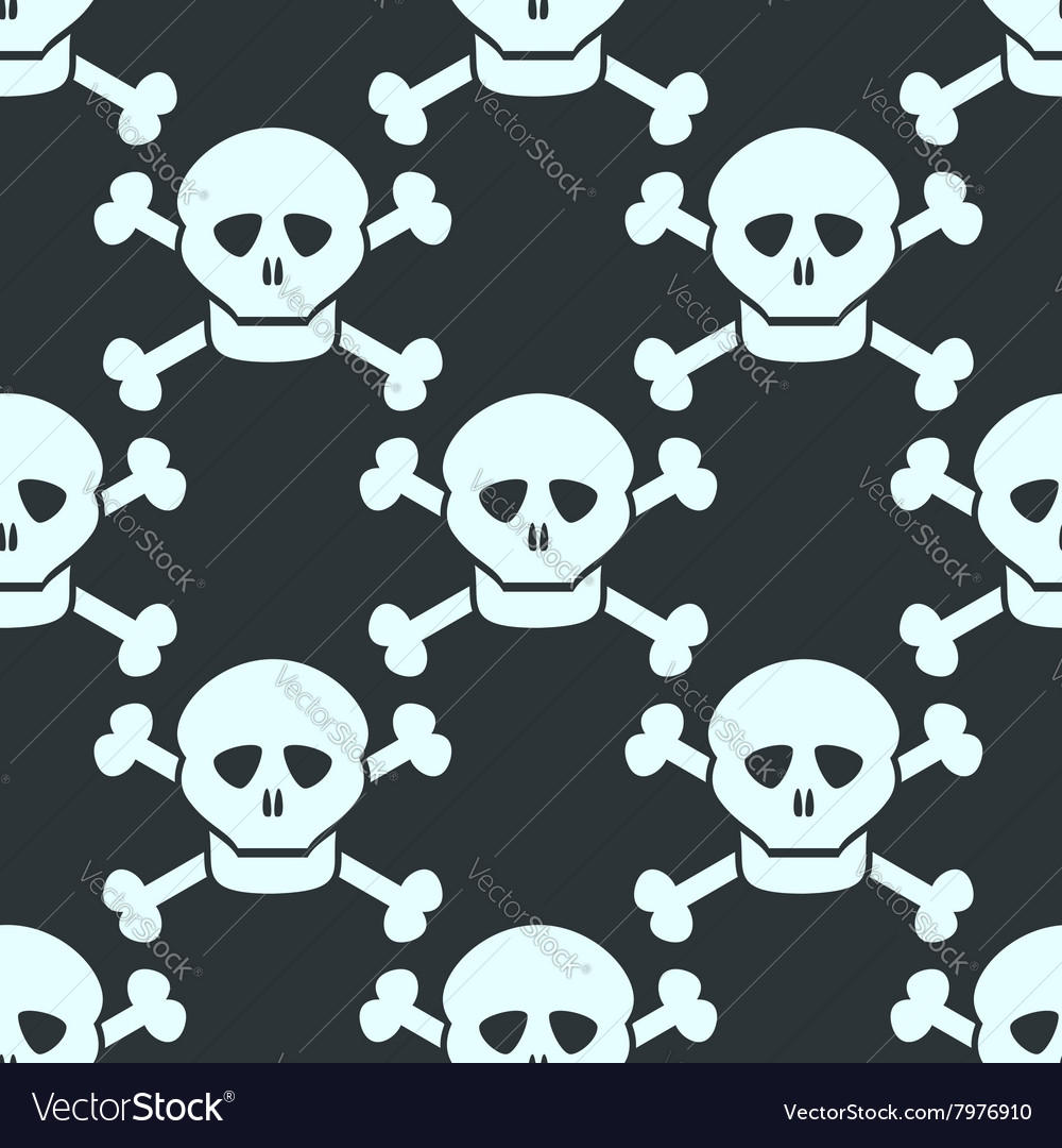 Simple seamless pattern with human skulls