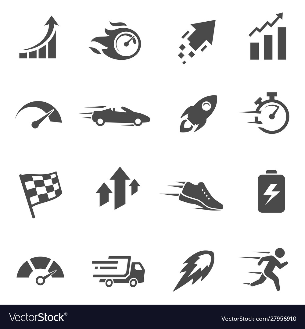 Speed and performance black and white glyph icons