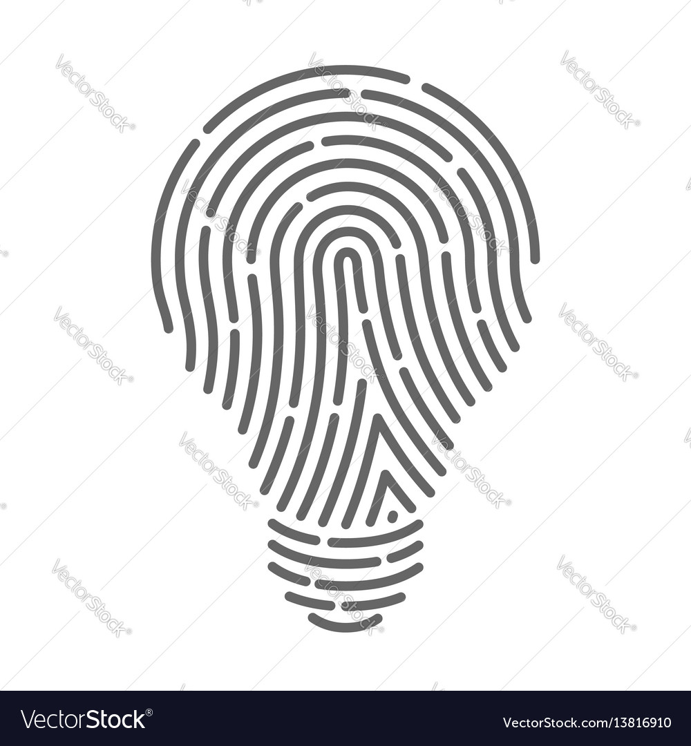 Symbol fingerprint as light bulbs vector image