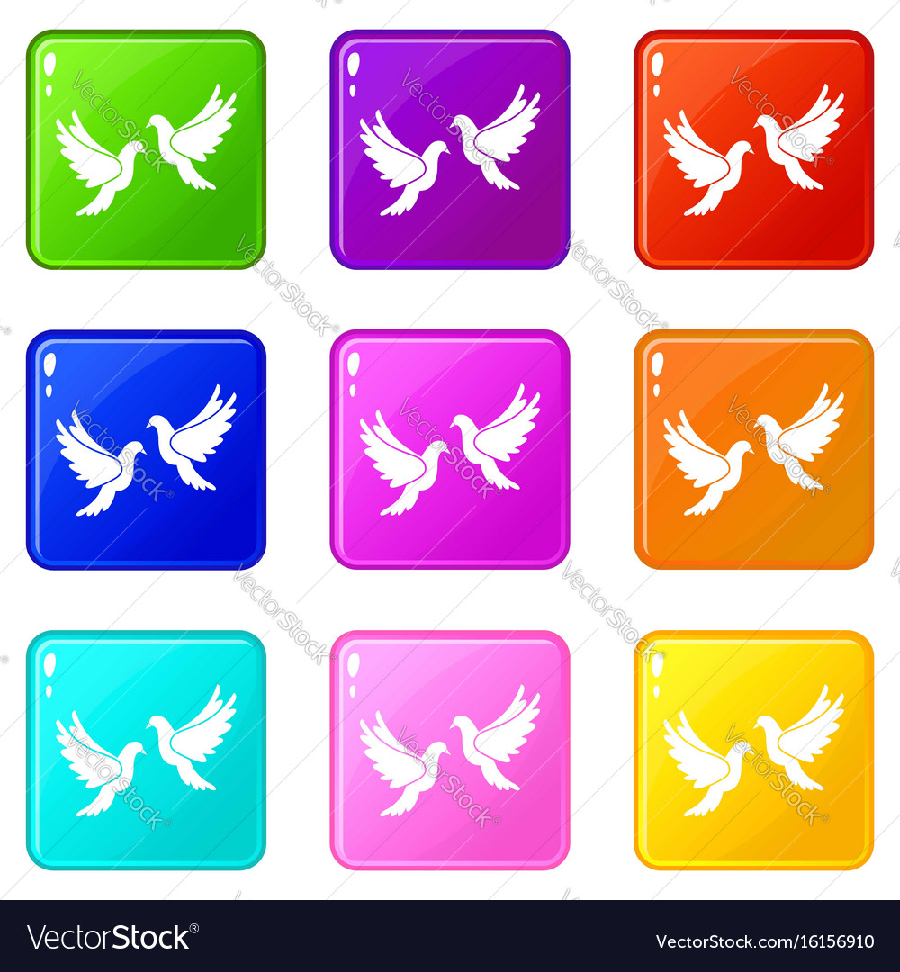 Wedding doves set 9 Royalty Free Vector Image - VectorStock