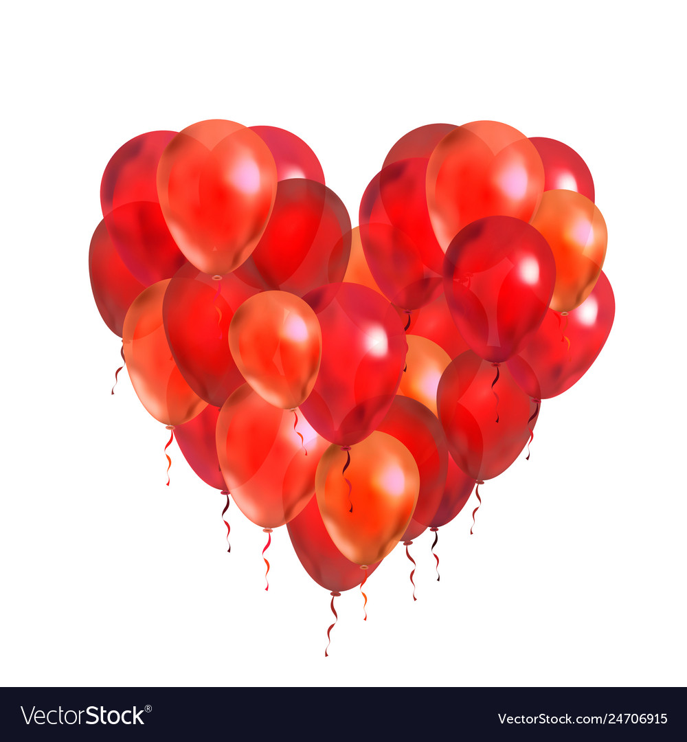 A lot of red balloons in round frame shape