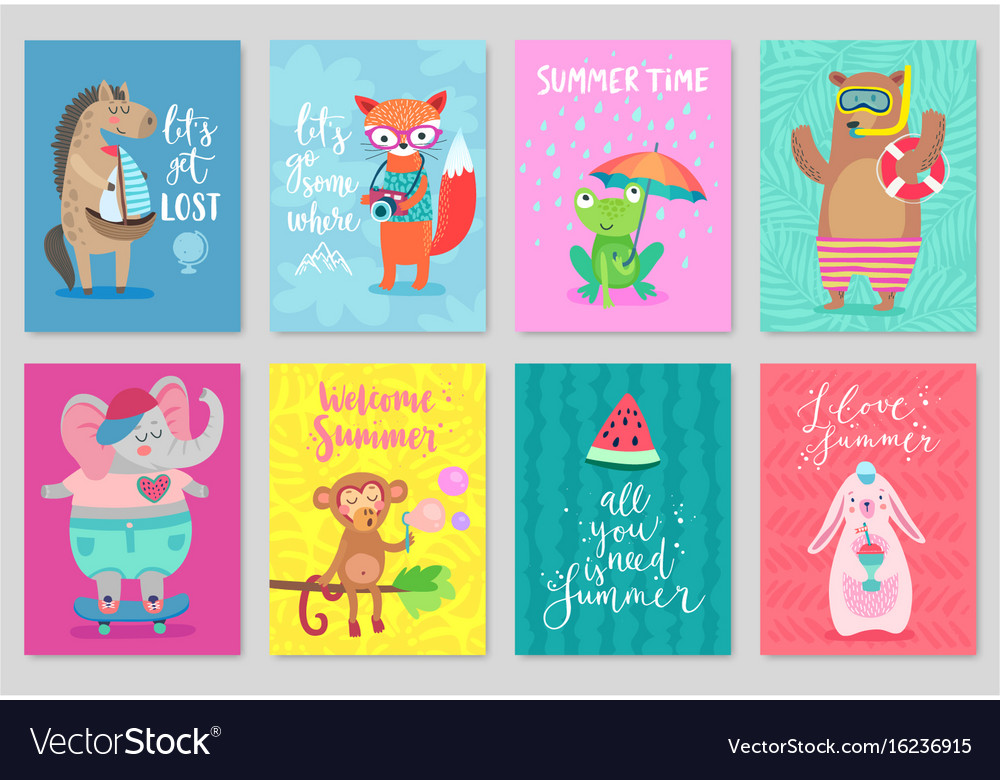 Animals card set hand drawn style summer theme