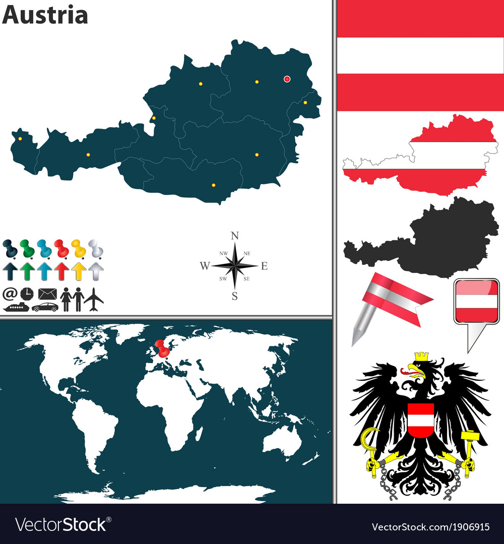 Image of: Austria Map World Royalty Free Vector Image Vectorstock