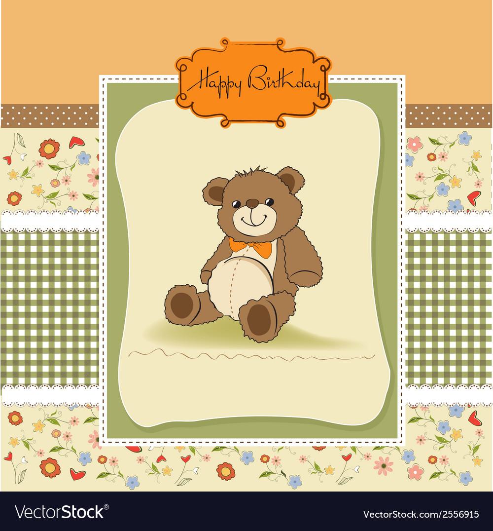 Birthday Card With A Teddy Bear Royalty Free Vector Image