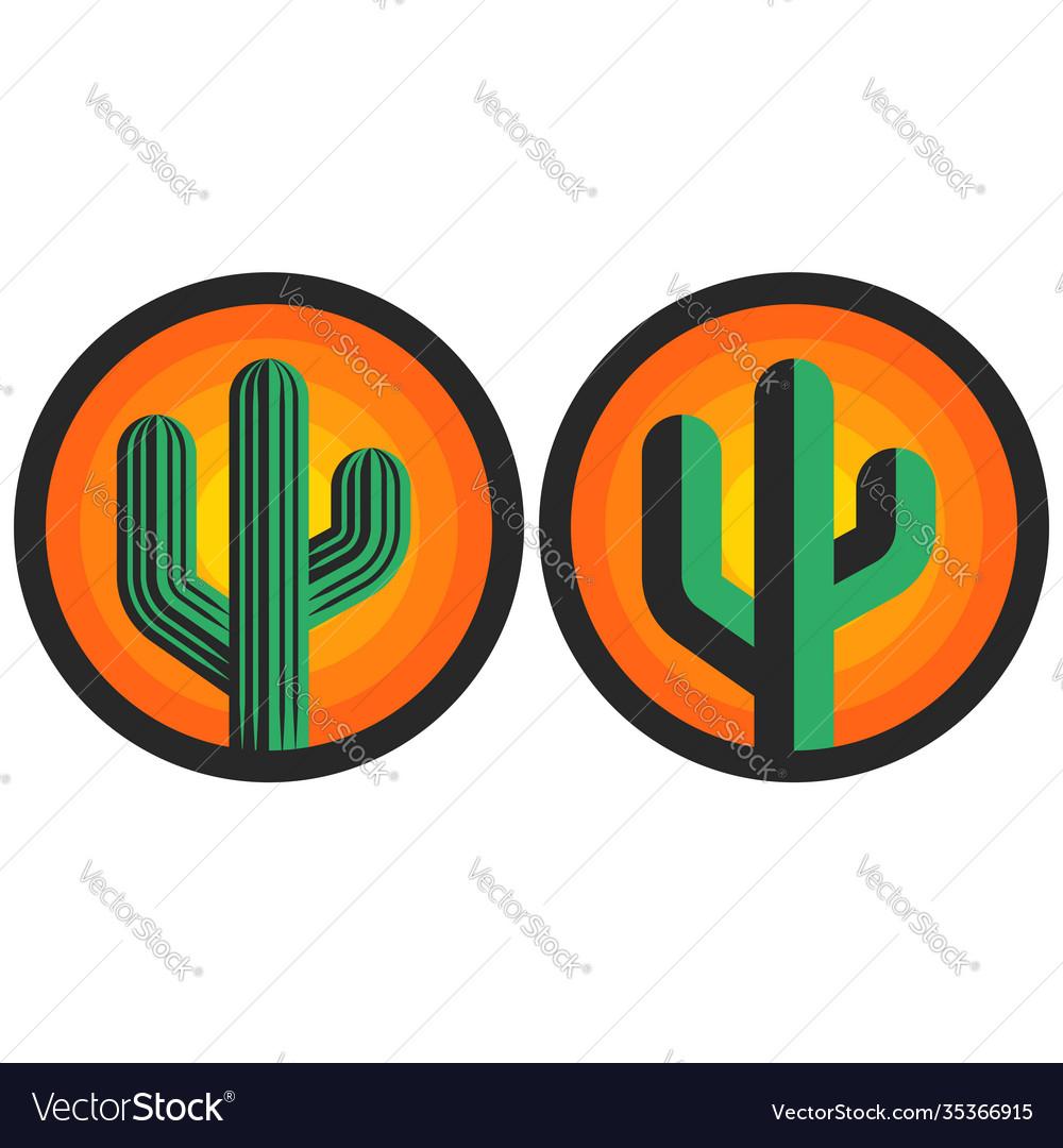 Cactus logo round shape sun background creative