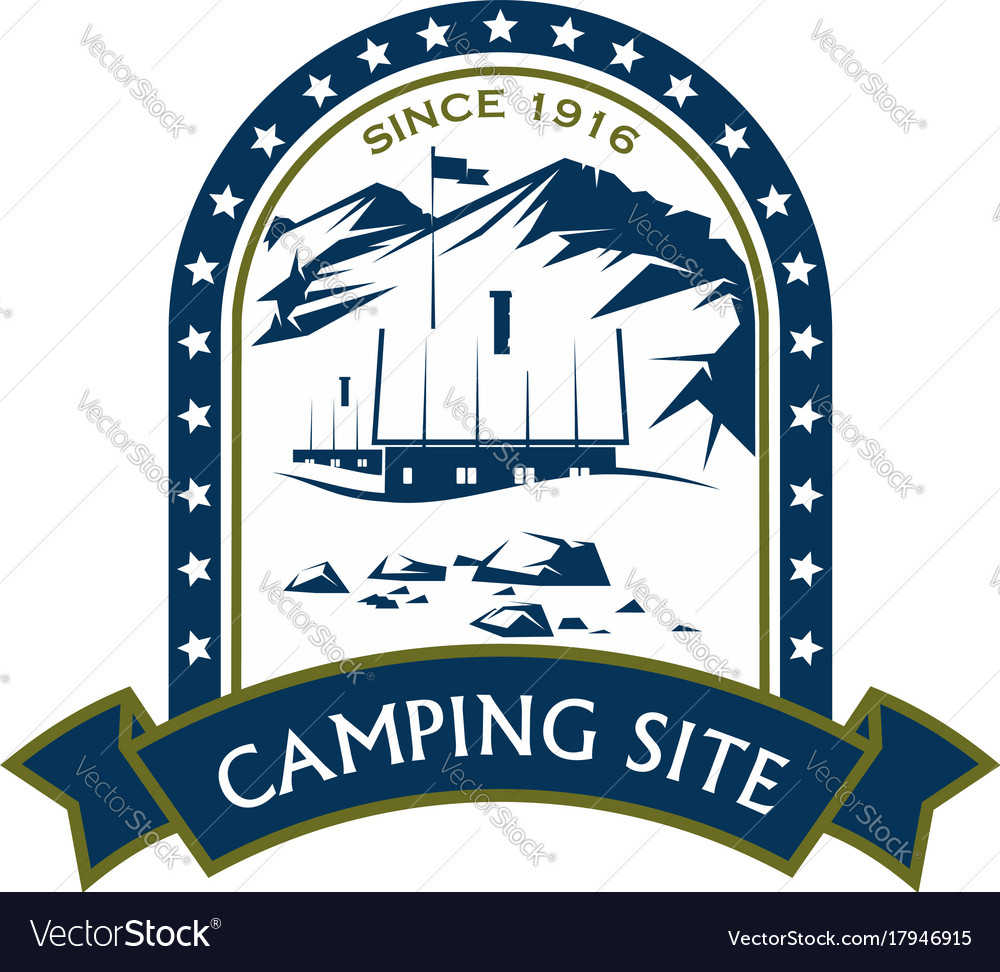 Camping site sport mountain hiking icon