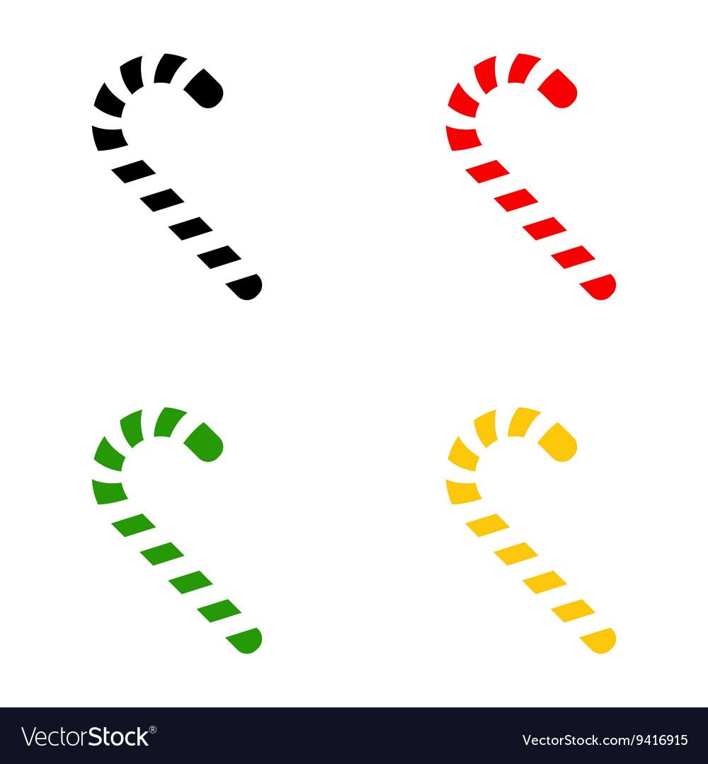 Color christmas candy cane icon symbol set