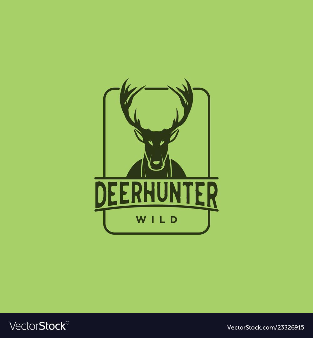 Deer Hunt Logo Template Elegant Head Vector Image