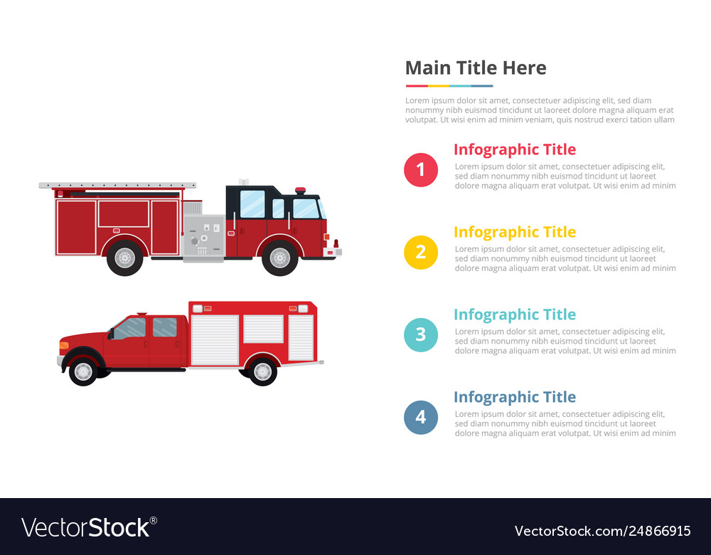 Firefighter truck infographics template with 4