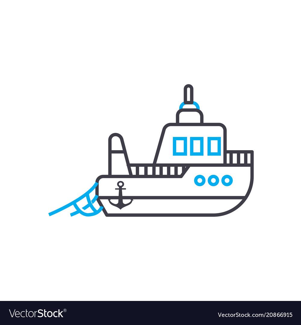 Fishing vessel thin line stroke icon
