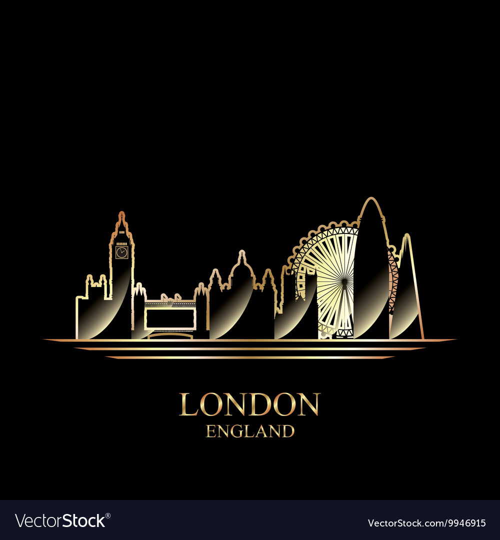 Gold silhouette of London on black background