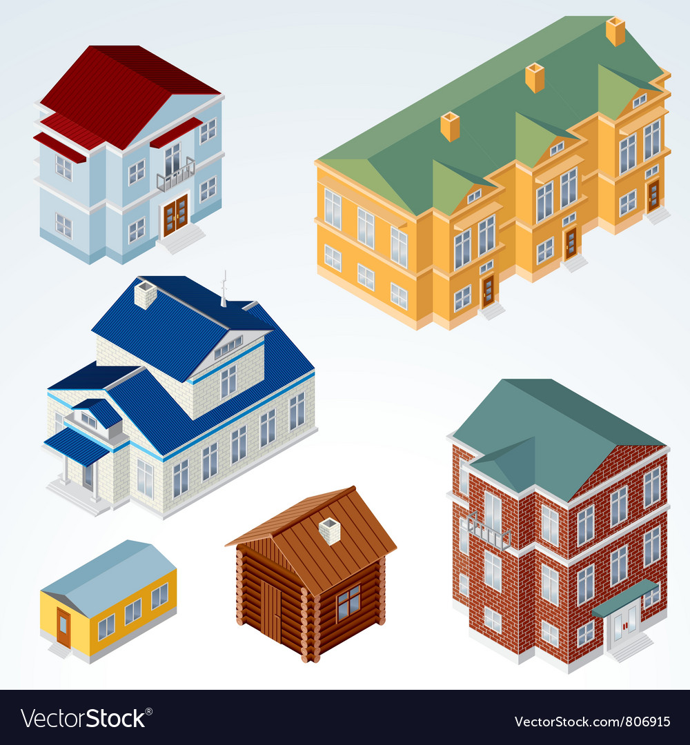 Isometric Houses vector image