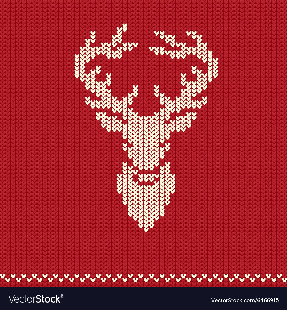 Knitted pattern with deer