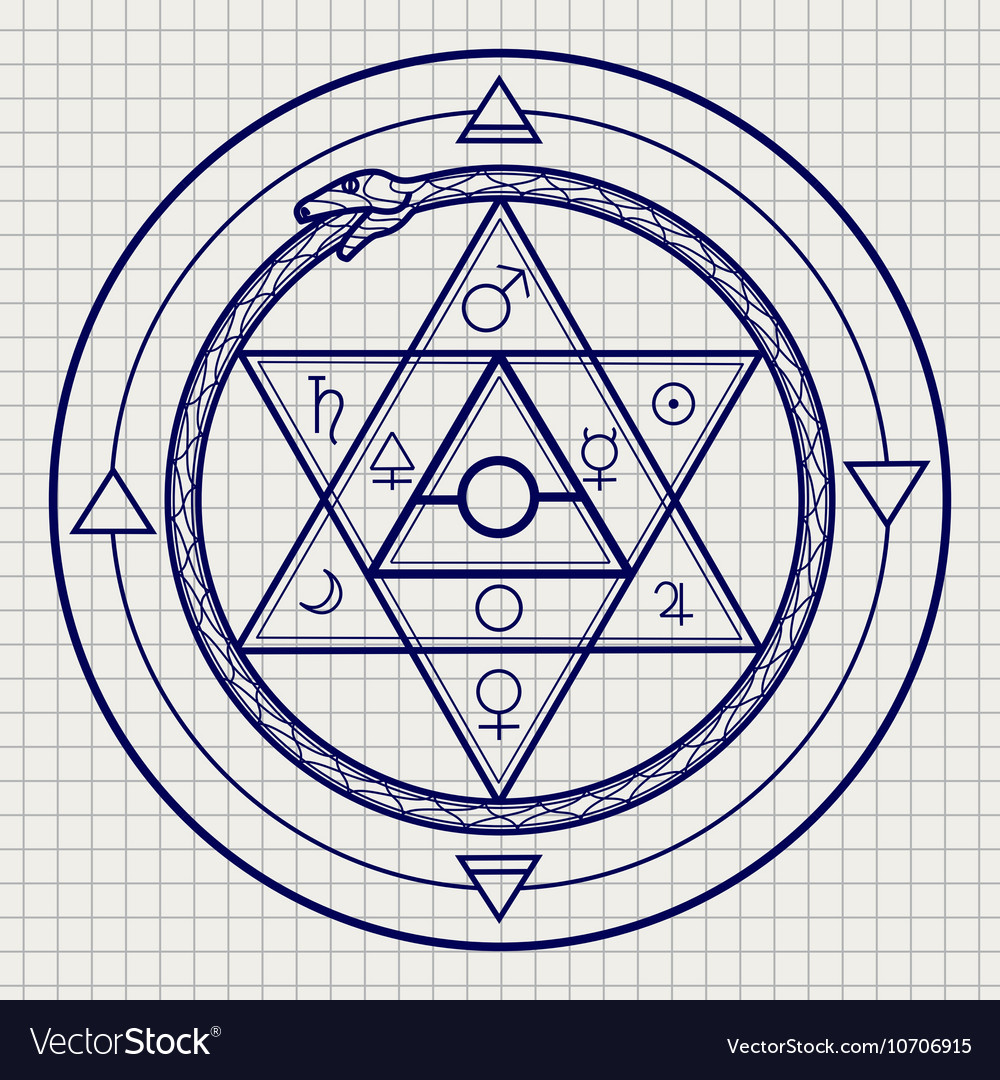 Mystical astrological sign on notebook page
