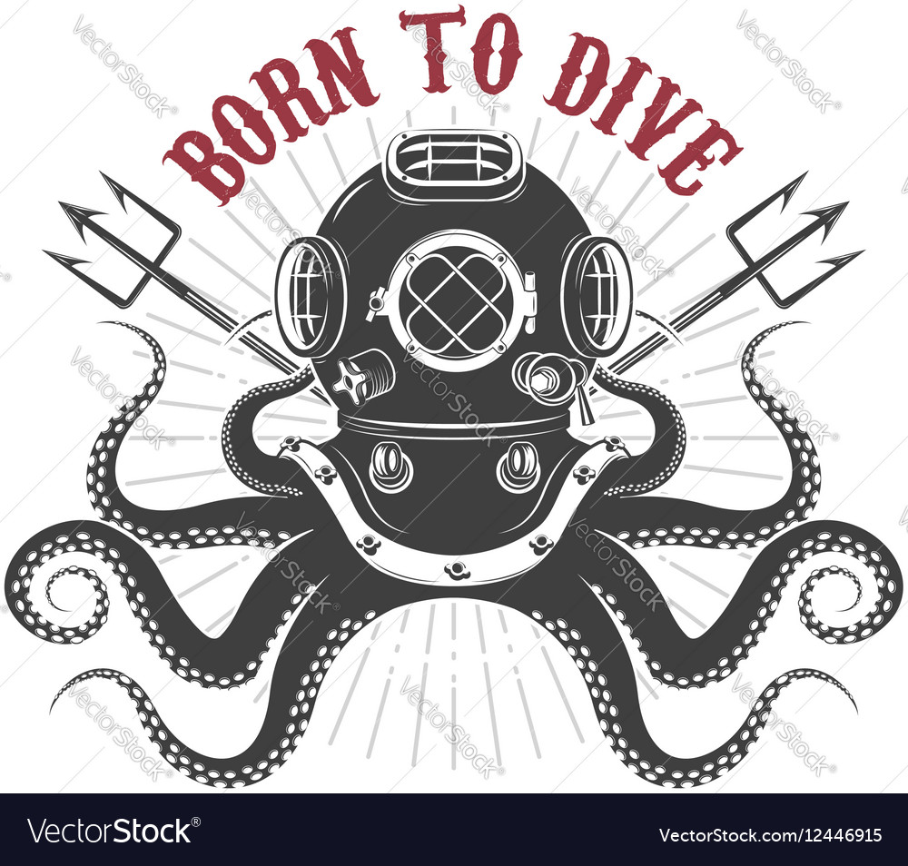 Octopus with diver helmet and two tridents