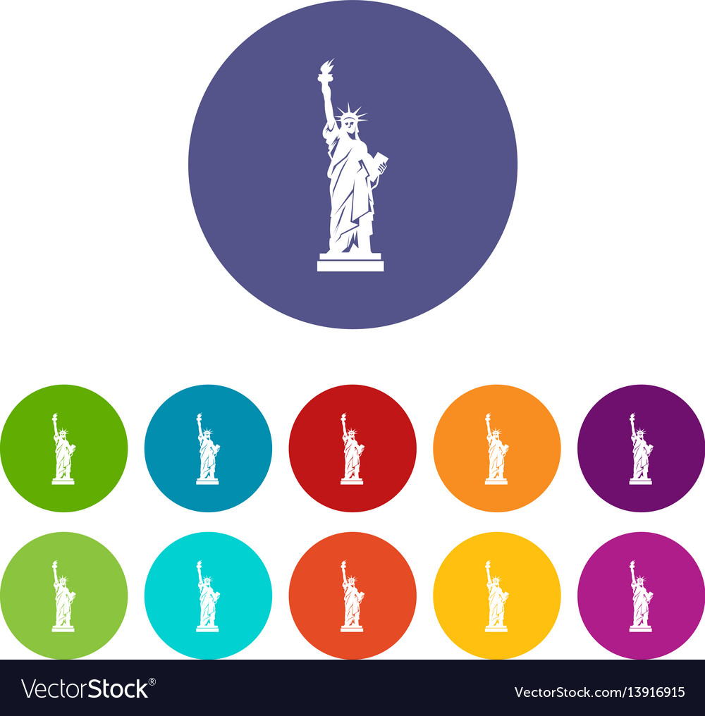 Statue of liberty set icons vector image