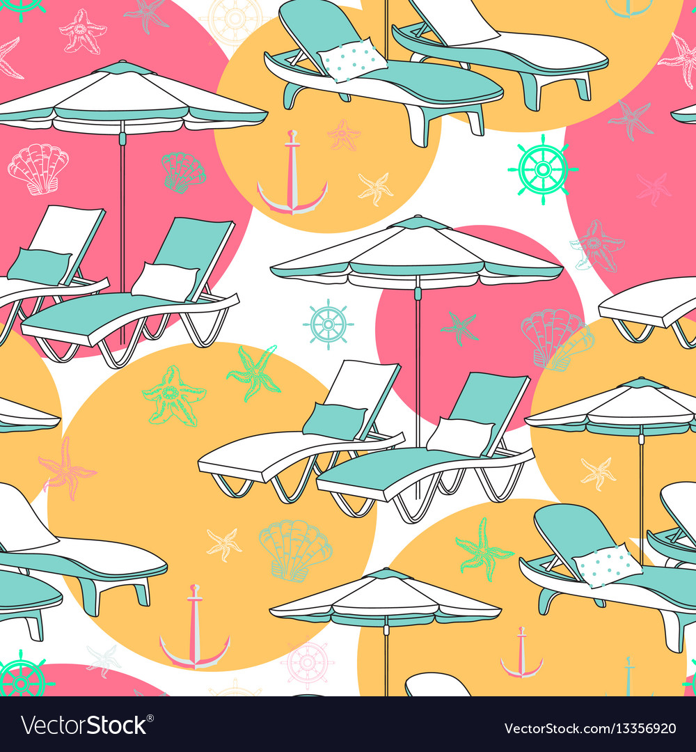 Beach Seamless Pattern Lounge Chair On Royalty Free Vector