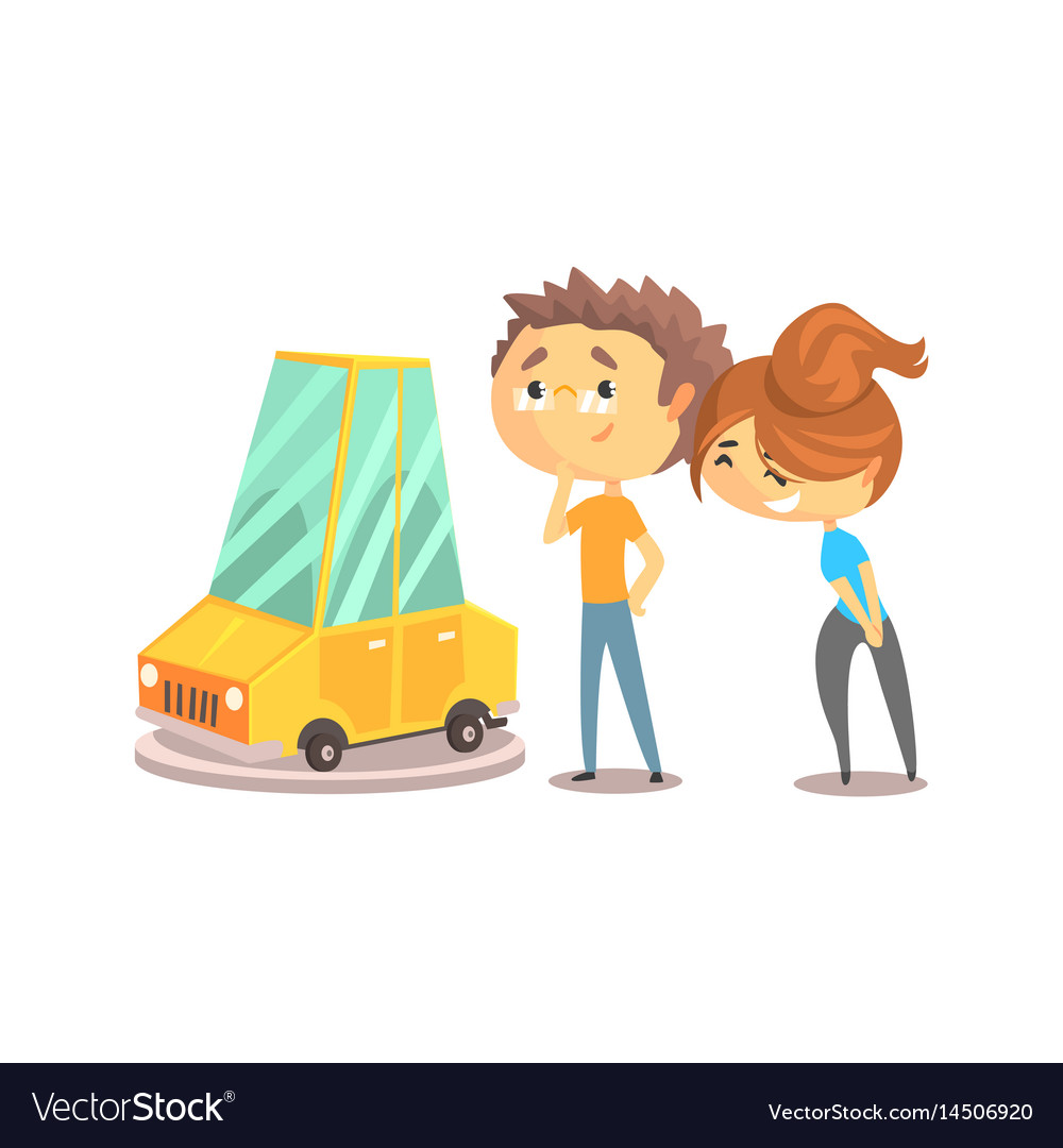 Couple buying car together colorful character vector image